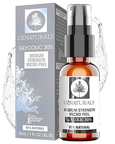OZNaturals 30% AHA Glycolic Acid Facial Peel - Anti Aging Face Exfoliator & Pore Minimizer Face Wash - Gentle Chemical Peels For Face & Acne Scar Treatment
