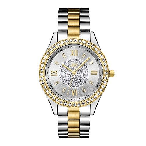 JBW Women's J6303G Mondrian Analog Display Japanese Quartz Two Tone Gold Silver Watch with Pave Diamond Face