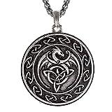 QIANJI Celtic Dragon Pendant Necklace Celtic Knot Wolf Stainless Steel Necklace Women Men Vintage Bag Package