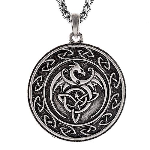 QIANJI Celtic Dragon Pendant Necklace Celtic Knot Wolf Stainless Steel Necklace Women Men Vintage Bag Package