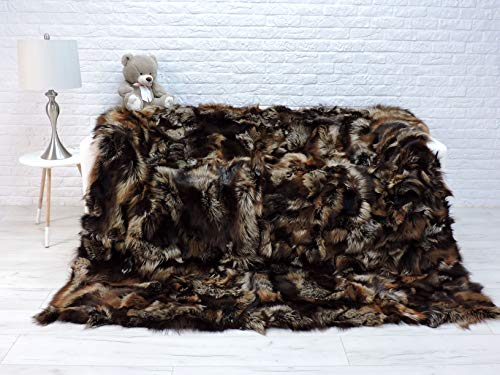 CuddlyDreams Luxury Real Silver Fox Fur Throw, Fur Blanket, Real Fur Throw, Genuine Fox Fur, King Size, Sofa Throw, Sofa Cover, Furry Throw, Fur Rug, 359