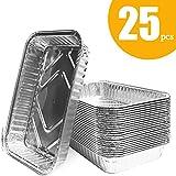 OMZGXGOD 25 Teglie Alluminio USA e Getta,Contenitori Alluminio, contenitori da Cucina di Alluminio 198 x 113 x 52 mm / 650ml, Ideali per arrostire, Fare Il Pane, Cucinare, congelare