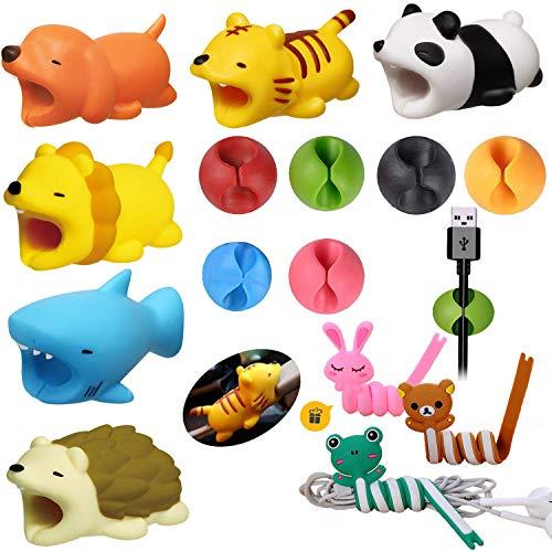 6 x Tier-Kabel-Bisse und 6 x Kabel-Clips, Kabel-Organizer, multifunktionale Kabel-Haken, Schutz-Zubehör für Handy mit 3 x Tier-Aufwickler