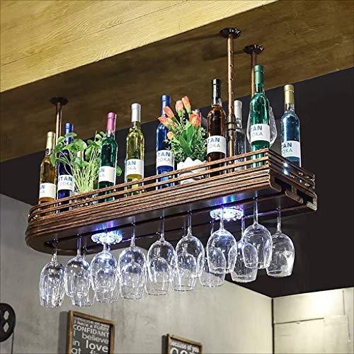 Red Wine Rack Bar Wine Glass Frame Hanging Retro Goblets Frame Upside Down Wine Hangers with Lights Ceiling Wine Holder Storage rack (Size : 6027cm)