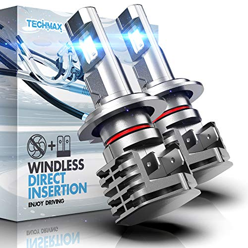 TECHMAX H7 LED Headlight Bulb,Windless Direct Insertion 50W 6500K Xenon White CREE Chips of 2