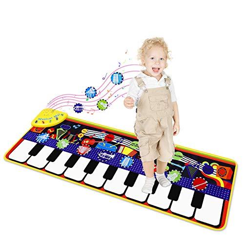 sanlinkee Musikmatte für Kinder,Piano Mat Tanzmatten Klaviermatte mit 10 Demos & 8 Instrumenten Keyboard Kinder Spielsachen Lernspielzeug Kleinkind Geschenke für Jungen Mädchen Kleinkind