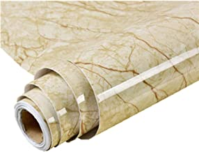 24''x79'' Light Yellow Self Adhesive Marble Effect Contact Paper Film Vinyl Decor Wallpaper Kitchen countertop Cabinet Furniture is renovated Thick Waterproof PVC