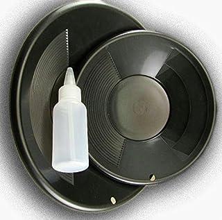 "MYOGB Lot of 2 Black Double Riffle Gold Pans 1-8"" & 1-10"" w/Bottle Snuffer-Panning Kit"