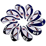 PiniceCore 10pcs / Set Impresión Dúplex Impermeable Golf Club Cabeza De Hierro Headcovers Azul Cubierta De La Cabeza del Club De Golf Accesorios
