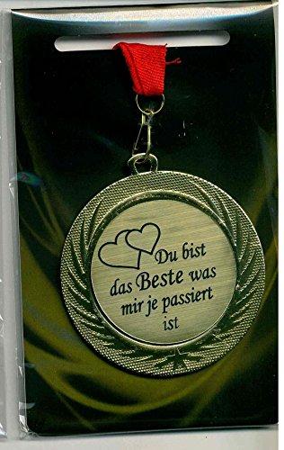 m-shop Edle Medaille/Auszeichnung mit Lasergravurschild und rotem Umhängeband Du bist das Beste was Mir je passiert ist Orden am Band Durchmesser 70mm