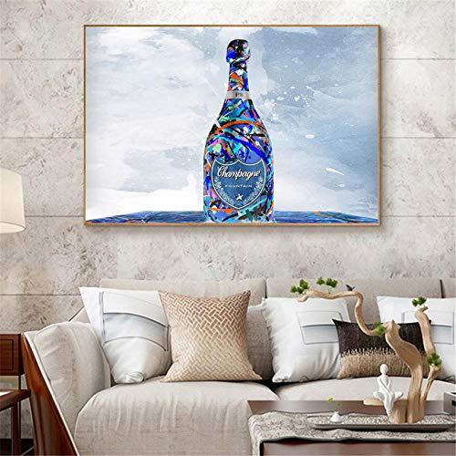 ZLARGEW Póster con impresión de Lienzo de Moda nórdica Botella de Vino Pintura Moderna Abstracta Arte de Pared Impreso para Sala de Estar decoración de Cocina Obra de Arte Moderna / 40x60cm sin Marco