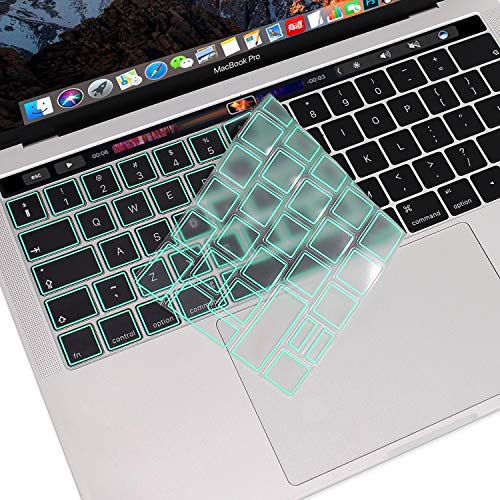 MOSISO Premium Ultra Thin TPU Keyboard Cover Compatible with MacBook Pro with Touch Bar 13/15 Inch 2019/2018/2017/2016 Release, A2159/A1989/A1706, A1990/A1707 Transparent Skin - EU Layout, Mint Green