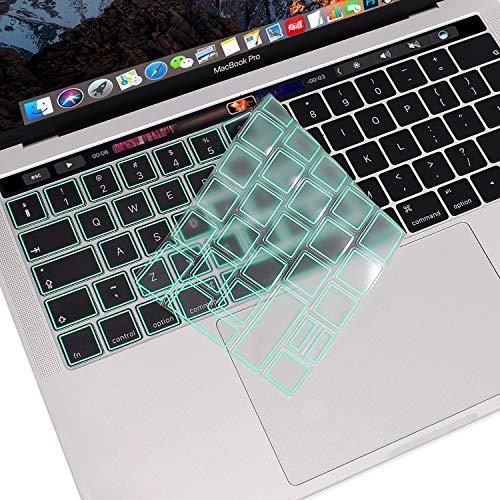 MOSISO Ultra Sottile Tastiera Copertura Protezione della Pelle(EU Layout) Compatibile con MacBook PRO con Touch Bar 13/15 (2019/2018/2017/2016 Rilascio,A2159/A1989/A1990/A1706/A1707),TPU Menta Verde