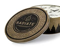 Radiate Portable Campfire! Designed to be sleek & portable with 3-5 hours of burn time Easy to light & reusable portable campfire for camping, beach, and backyard Made from recycled soy wax. No smoky smell & low soot. No Embers! Convenient, Portable ...