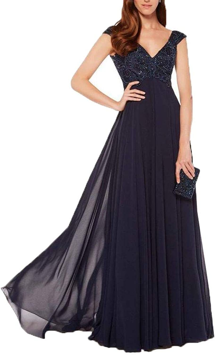 Aishanglina Women's VNeck Evening Party Cocktail Dress with Embroidery Pearls Beading for Special Formal Occasions