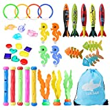 Diving Toys, Swimming Pool Diving Toys for Kids, 37pcs Toys for Pool, Toddler Pool Toys for Kids 3-10: Pool Rings, Dive Sticks, Shark Torpedo Pool Toy, Pool Gems Gift for Boys and Girls Kids Pool Toys