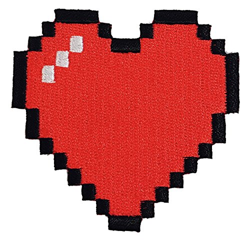8-Bit Heart Video Game Embroidered Iron On Patch Applique