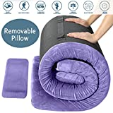 FBSPORT Memory Foam Floor Mattress with Pillow Camping Mattress/Car Travel Mat/Roll-Up Guest Bed/Portable Sleeping Pad Adult with Removable Waterproof Cotton Terry Cover and Bag