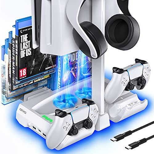 OIVO Soporte PS5 con Ventilador y estación de Carga PS5, Soporte PS5 con Soporte Auriculares y 12 Ranuras para Playstation 5, Ventilador PS5 con estación de Carga del Mando PS5 para Accesorios PS5
