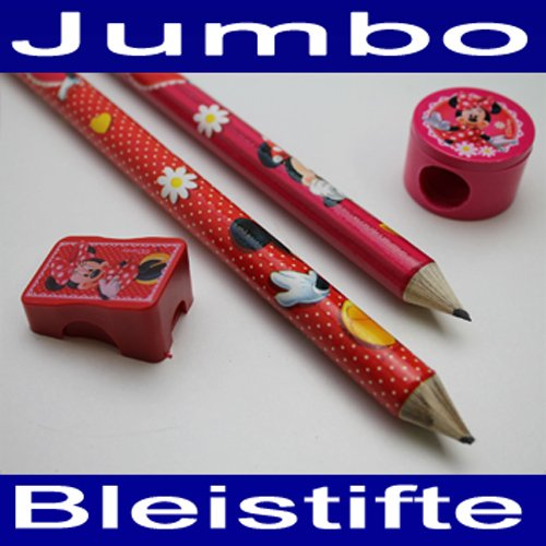 Jumbo Bleistift SET 4 tlg,Disney Minnie Maus, 2x XL Stift,Radierer,2x Anspitzer (LHS)