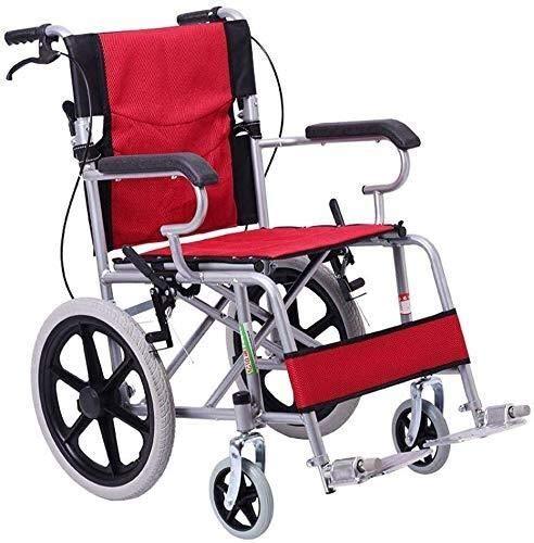 HYY-YY Silla de ruedas de acero silla de ruedas, asistente propulsado silla de ruedas con frenos, rojo, silla de ruedas de viaje de transporte portátil, adecuado para niños y usuarios con discapacidad