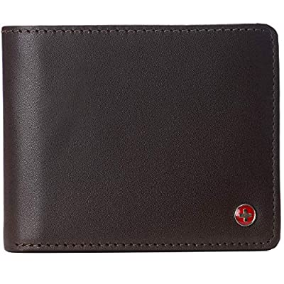 Alpine Swiss Mens Connor RFID Bifold Wallet Passcase Smooth Leather Comes in a Gift Box Brown