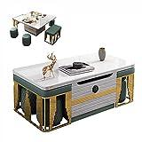 Smart Lift Up Coffee Mesa de centro / mesa de comedor plegable / escritorio de computadora Moderno Mueble multifuncional Muebles de oficina Mesa de extracción de elevación con 2 bancos + 4 taburetes y