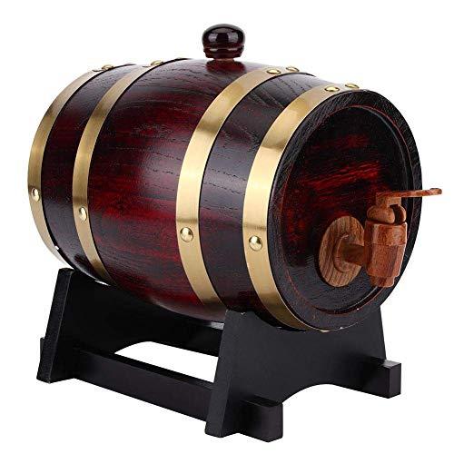 XJZKA Barril de Vino, Barril de envejecimiento de Roble Vintage de 1,5 l, Barril de Vino de Madera, Cubo de Barril, Whisky, Cerveza, Bourbon, Accesorios para elaboración de Cerveza para