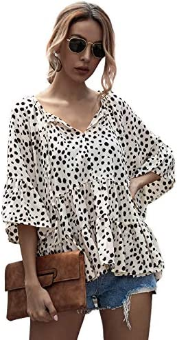 SheIn Women s Casual V Neck Flounce 3 4 Sleeve Top Ruffle Loose Blouse White Large product image