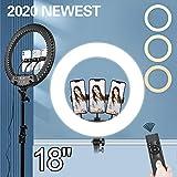 Anillo de Luz con Tripode 18', Ring Light Led con Temperatura de 3 Colors & 10 Niveles de Brillo para Disparo Cámara Youtube Video TikTok