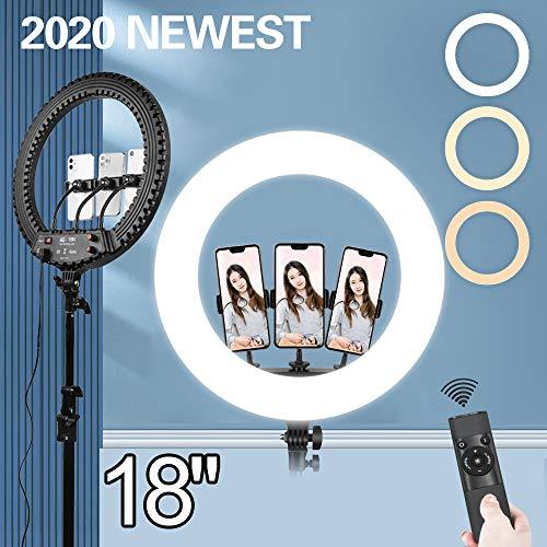 """Anillo de Luz con Tripode 18"""", Ring Light Led con Temperatura de 3 Colors & 10 Niveles de Brillo para Disparo Cámara Youtube Video TikTok"""