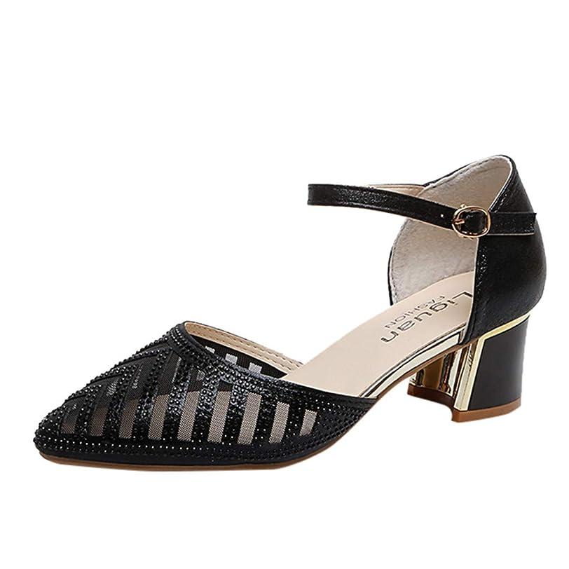 靴異常な特異な[FULFUGO] AC001女性のファッションカジュアル尖ったつま先厚いかかとラインストーン付きメッシュダンスシューズ