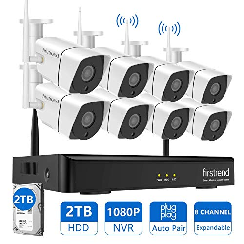 Wireless Security Camera System,Firstrend 8CH 1080P Wireless NVR System with 8pcs 1MP IP Security Camera with 65ft Night Vision and Easy Remote View,P2P CCTV Camera System 2TB Hard Drive Pre-installed