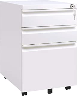 DEVAISE Locking File Cabinet, 3 Drawer Rolling Metal Filing Cabinet, Fully Assembled Except Wheels, White