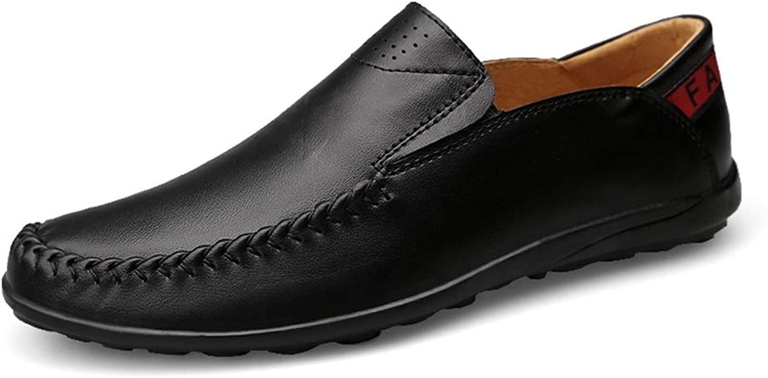 GLSHI Men Light-Weight Slip-on Round Toe Penny Loafers Soft Leather Upper Flat Seamed Driving Crop shoes Durable Breathable Elastic New