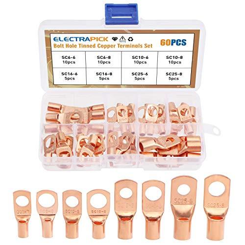 electrapick 60pcs Cosses de câble à sertir de batterie en cuivre Cosse tubulaire Connecteur électrique pour câble de 6-25mm²