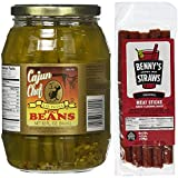 Cajun Chef Louisiana Spicy Green Beans (32oz) w/ Bennys Bloody Mary Beef Straws (Pack of 5)