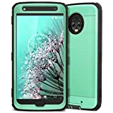 CinoCase Moto X4 Case, X4 Phone Case Heavy Duty Protective Case Hybrid TPU Bumper Shockproof Case with Brushed Metal Texture Hard PC Back for Moto X4 Mint