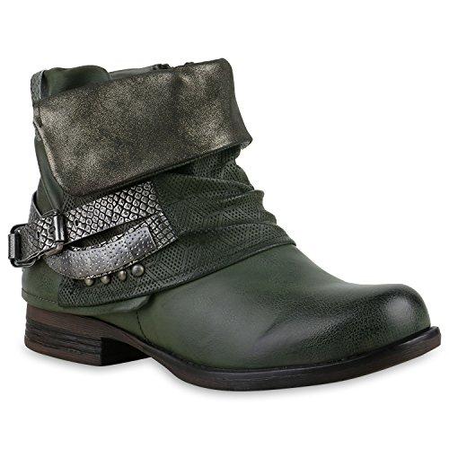 Damen Biker Boots Nieten Schnallen Stiefeletten Gr. 36-42 Schuhe 128617 Dunkelgrün 41 Flandell