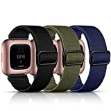 Maledan Stretchy Nylon Solo Loop Bands Compatible with Fitbit Versa/Fitbit Versa 2 Band, Soft Nylon Weave Adjustable Sport Strap Wristbands for Women Men, Black/Blue/Green