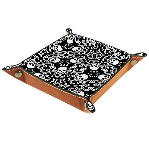 MUMIMI Bandeja de joyería para decoración del hogar, regalo de boda para ella, anillo pequeño, calaveras y flores en blanco y negro