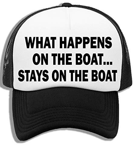 What Happens On The Boat Stays On The Boat Gorra De Béisbol Unisex Niños Blanca Negra White Black Kids Baseball Cap