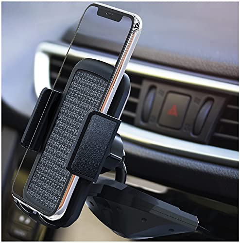 BESTRIX Cell Phone Holder for Car, CD Slot Car Phone Holder, Hands Free Car Mount with Strong Grip Universal for iPhone, 12/11/11Pro/Xs MAX/XR/XS/X/8/7/6 Plus, Galaxy S/20/10/S10+/S10e/S9/S9+/N9