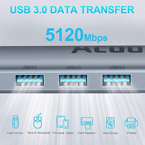 USB C Hub, 9 in 1 Type C Hub USB-C Multiport mit 3 USB 3.1 Gen 1 und 2 USB 2.0, Thunderbolt 3 USB C Adapter PowerExpand PD 100W, 4K HDMI,SD/TF Kartenleser Kompatibel für MacBook / Surface / iPad Serie