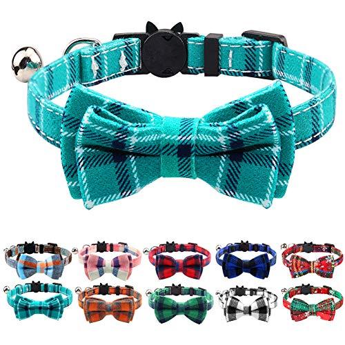 Joytale Collar Gato Antiahogo, Collares para Gatos con Pajarita y Cascabel, Collares con Hebilla Seguro de Liberación Rápida para Gatos y Gatitos, 1 Paquete, Verde Azulado