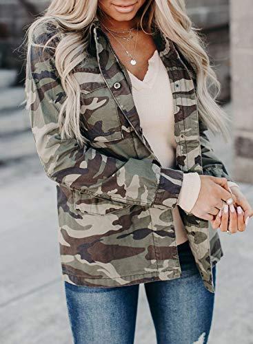 CORAFRITZ Damen Jacke Mädchen Camouflage-Druck Crop Top Sweatshirt Casual Langarm Tops Bluse Luna Utility Jacke - Camo Gr. 38, grün