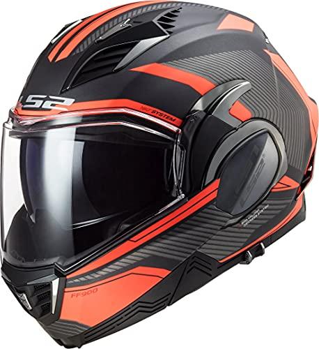 LS2, casco moto modulare VALIANT II revo arancio titanio, L