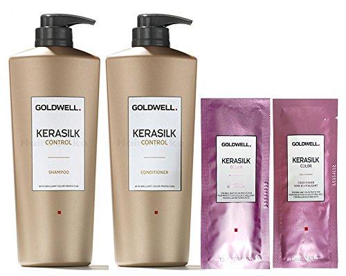 Goldwell Kerasilk Control Set - Shampoo 1L + Conditioner 1L + 2x Color Sachet