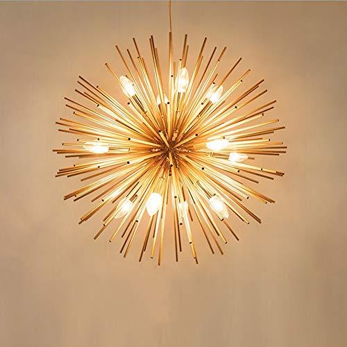 CHENJUNAMZ Techo calienta la lámpara Amarilla Tubo de luz de los Fuegos Artificiales Círculo de Aluminio Erizo Diente de león de la lámpara de la Sala Comedor