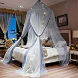 Lotus Karen Contrast Color Bed Curtain – Double Layer Polyester Sheer Mesh Dome Bed Canopy – Round Hoop Princess Mosquito Net for Twin Full Queen King Size Bed